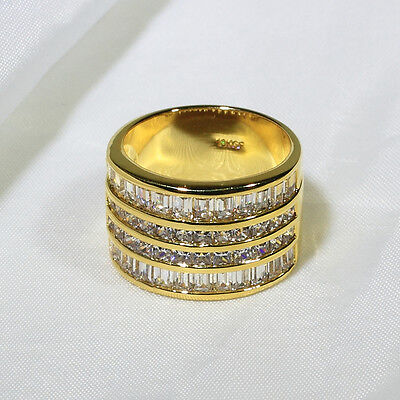18K Yellow Gold Gf Cz Engagement Wedding Women Jewelry Band Ring R3523 Size 5 10