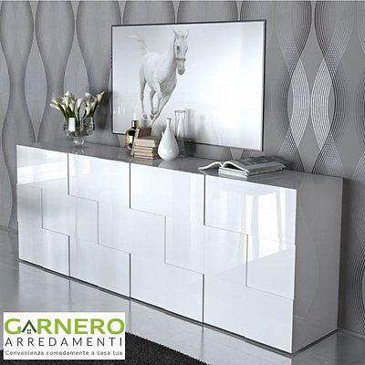 Credenza QUADRA 4 ante Gihome ®, mobile madia moderna bianco lucido soggiorno