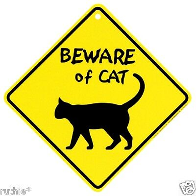 Beware of Cat Crossing Xing Sign New