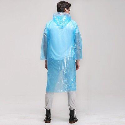 2 x Disposable Adult Emergency Waterproof Raincoat Poncho Hiking Camping Hood UK