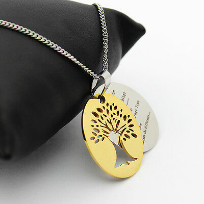 """Serenity Prayer Tree Pendant & Necklace,  Tree Cut Out, 18"""" to 20"""" Chain, NEW!"""