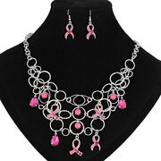 Pink Cancer Ribbon Earrings