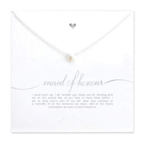 Maid Of Honor Silver Imitation Pearl Necklace Gift With Message Card