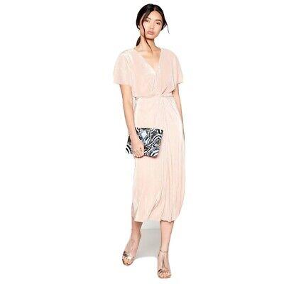 No. 1 Jenny Packham Pale Pink Twist Knot Plisse Midi Dress Colour: pale pink