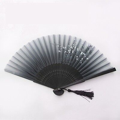 Japanese Fans (Chinese Japanese Folding Hand Held Fan Black Fan Silk Plum Flower Bamboo Pocket)