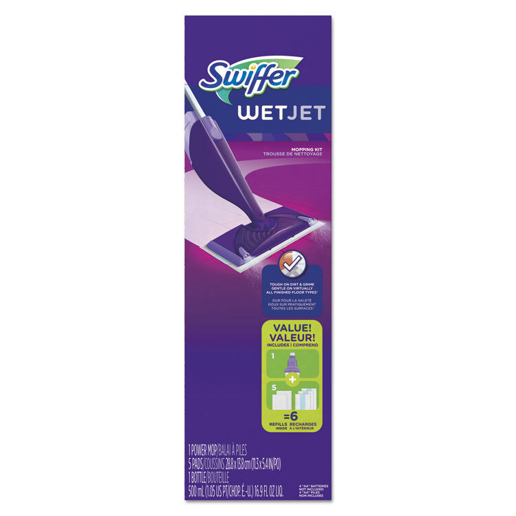 "PROCTER & GAMBLE WetJet Mop Starter Kit, 46"" Handle, Silver/Purple 92811KT"