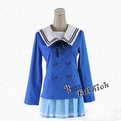 Blue School Uniform Anime Beyond the Boundary Kuriyama Mirai Cosplay Costume ()