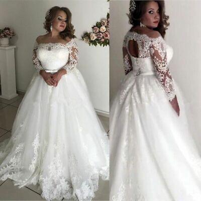 Plus Size Wedding Dresses Off the Shoulder Lace Applique Long Sleeve Bridal Gown