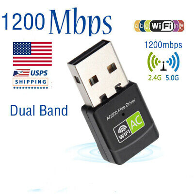 1200Mbps USB WIFI Adapter Dual Band Wireless 5Ghz & 2.4Ghz With Antenna US Stock