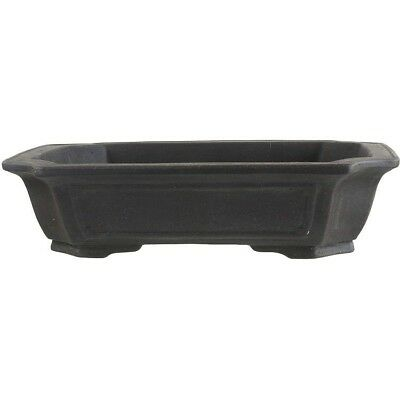 Bonsai pot 39.5x31.5x10cm handmade dark brown rectangular unglaced