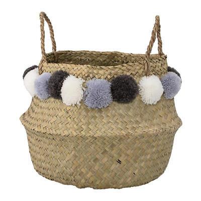 Bloomingville Deko Korb mit Griff aus Seegras mit Bommeln für Wäsche, Spielzeug ()