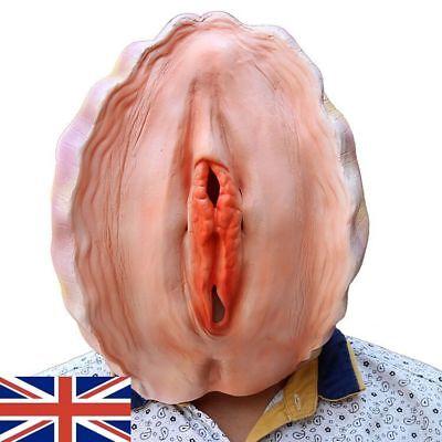 Scheide Clam Latex Maske - Erwachsene Frech Kostüm Lustig Halloween Party - UK ()