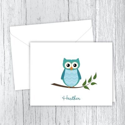 Whimsical Teal Owl Note Cards, Personalized Stationery, Set of 10 Folded Cards