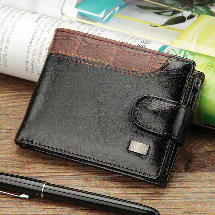 Men's Leather Card Holder Bifold Wallet with Flap Coin Pocket Convenient Purse Clothing, Shoes & Accessories