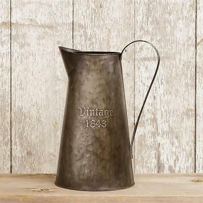 VINTAGE 1843 PITCHER Rustic Metal Tin French Country Style Vase Primitive