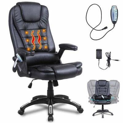 Heated Vibrating Massage Office Chair Executive Ergonomic Computer Desk Black