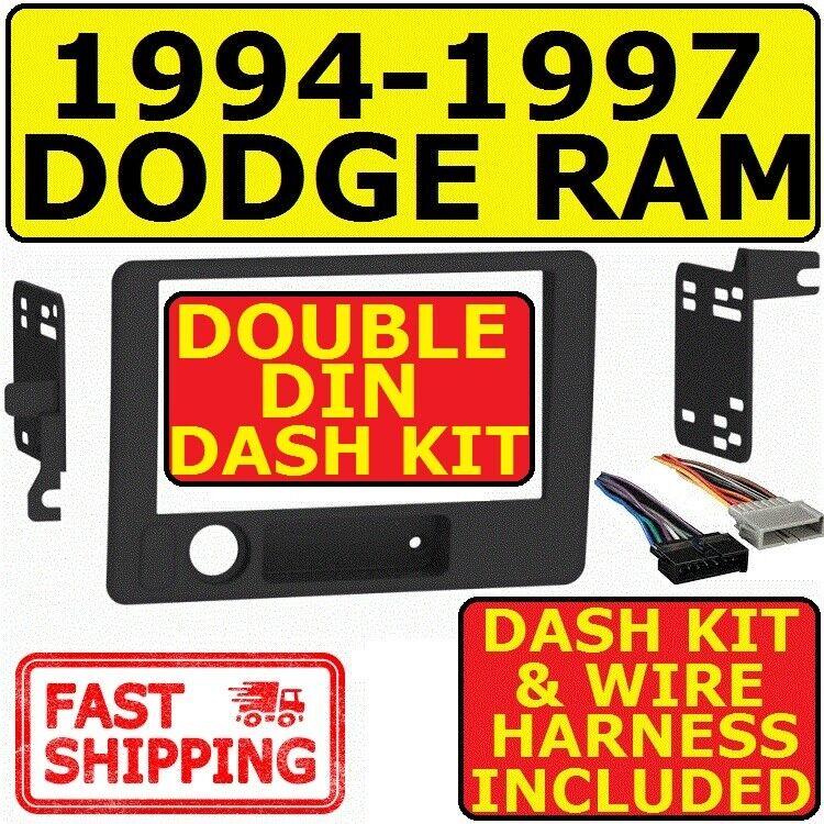 Black Dodge Ram Radio Stereo Double Din Dash Install Kit w// Wiring Harness Custom Install Parts