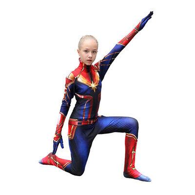 Marvel Girls Cosplay (Ms. Captain Marvel Superhero Cosplay Costume Kids Girls Zentai Suit)