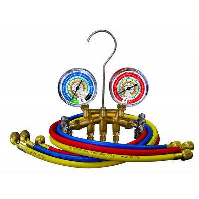 Mastercool 33661 2-way Brass Manifold Gauge Set W 60 Hoses
