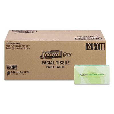 Marcal PRO 100% Recycled Convenience Pack Facial Tissue White 100/Box 30 Boxes ()