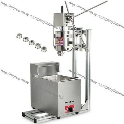 Heavy Duty 3l Vertical Manual Spanish Churro Machine Maker W 6l Gas Fryer
