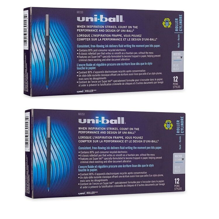 24 – UNI-BALL Roller Pens – MICRO BLUE 0.5mm – Rollerball – 2 Boxes of 12 Collectibles