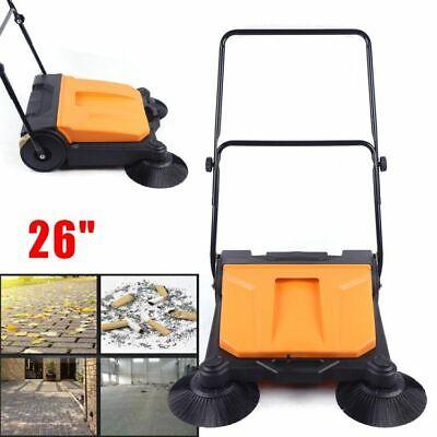 New 26industrial Hand-push Sweeping Sweeper Walk-behind Floor Clean All Weather