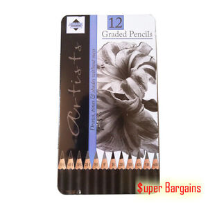 12 Pcs Graded Charcoal Sketch Artist Pencils Tin For Drawing Sketching Shading