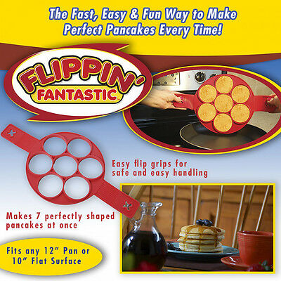 Flippin' Fantastic Nonstick Silicone Pancake Maker 7 Rings Egg Mold Seen TV