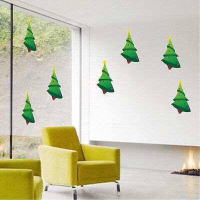 Christmas Trees Wall Decal Winter Wallpaper Seasonal Decorations Vinyl, h31 - Christmas Wallpaper Decorations
