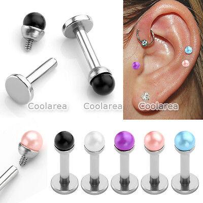 Faux Pearl 16G Steel Bars Ear Tragus Cartilage Helix Stud Earrings Piercing