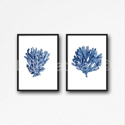 Sea Coral Blue Set of 2 Watercolour Painting PRINT 8x10 Wall Art