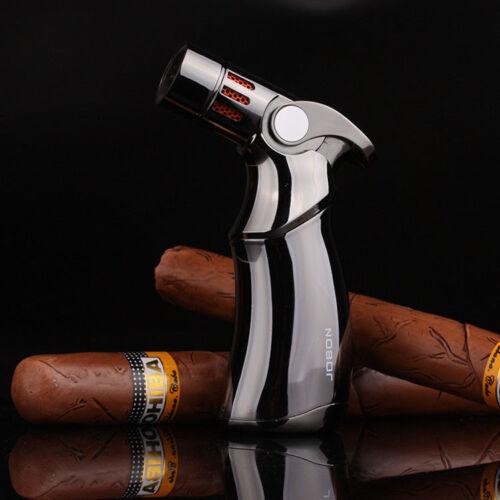 Jobon Windproof 4 Jet Torch Cigar Baking BBQ Welding Refillable Lighter Black