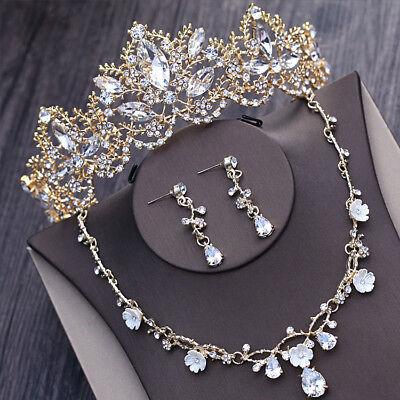 Retro Gold Bridal Wedding Crown and Tiaras Necklace Earrings Set Bridal Headband