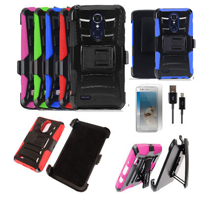 Phone Case for LG Fortune 2, Risio 3 Holster Cover Stand USB Charger with Flim ()