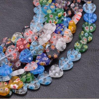 8mm Millefiori Glass - Lots Multi-Color Heart Millefiori Glass Craft Charms Spacer Beads 8MM 10MM 12MM