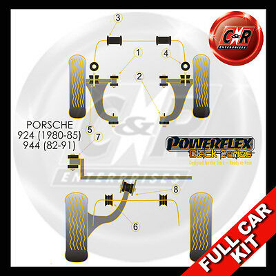 Porsche 924 and S all years  Powerflex Black Complete Bush Kit