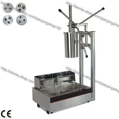 3-hole 4 Nozzles 5L Vertical Manual Spanish Donut Churro Machine Maker Fryer