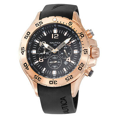 Nautica Men's Black and Rose Gold Phrasing Chronograph Watch N18523G