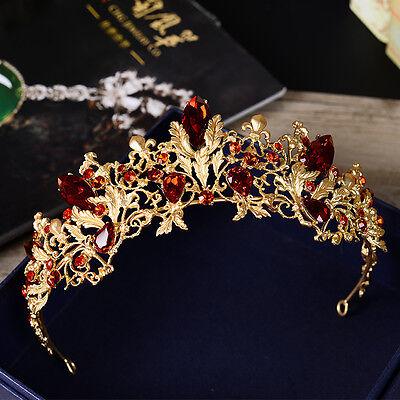 New Baroque Red Rhinestones Bridal Crown Tiara Headdress Bride Hair Accessories - Red Tiaras