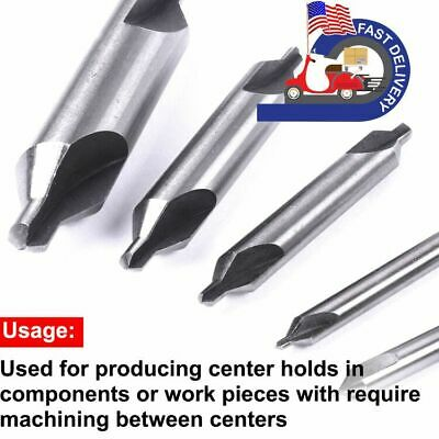 5pcs Hss Center Drill Bit 60 Degree Combined Countersink Spotting Drill Bits Set