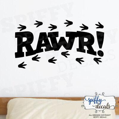 Rawr Dinosaur T Rex Footprints Vinyl Wall Decal Decor Design Sticker Lettering