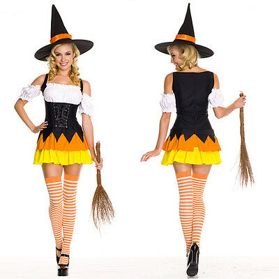 Kandy Witch Dress Women Wizard Costume w/Hat for Halloween Cosplay Party Medium (Woman Wizard Costume)