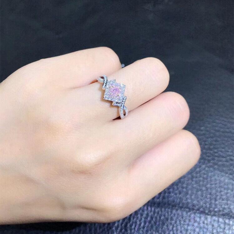 Elegant 925 Silver Jewelry Pink Sapphire Women Wedding Jewelry Gift Size 6-10 3
