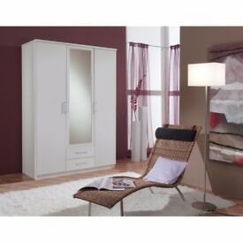 🔥💥🚚SAME DAY FAST DELIVERY🔥💥🚚 BRAND NEW GERMAN 3 DOOR OSAKA WARDROBE IN WHITE AND WALNUT