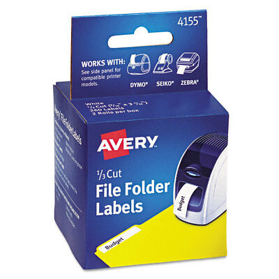 Avery Thermal Printer File Folder Labels 13 Cut White 130roll 2 Rolls 4155