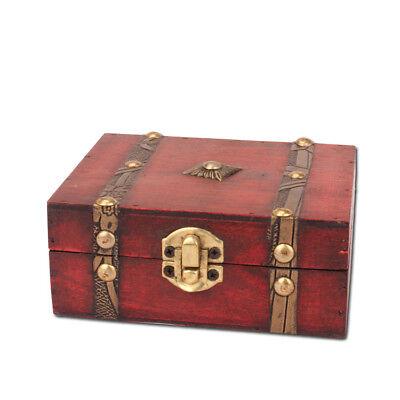 Classic Retro Wood Jewelry Mini Treasure Chest Storage Organizer Box Decorative