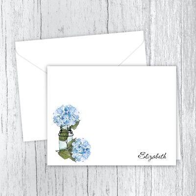 Personalized Note Cards - Blue Hydrangeas in a Mason Jar - Set of 10