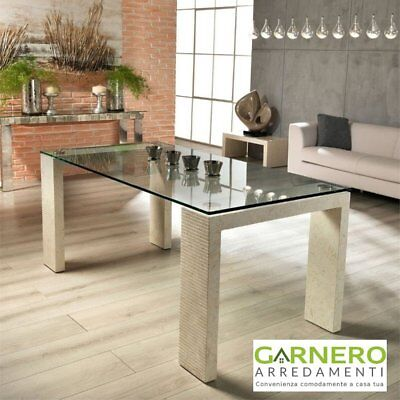 Tavolo da pranzo in fossilstone Millerighe 2 Stones con piano in vetro temprato