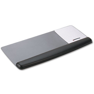 3M Antimicrobial Gel Mouse Pad/Keyboard Wrist Rest Platform Black/Silver WR422LE